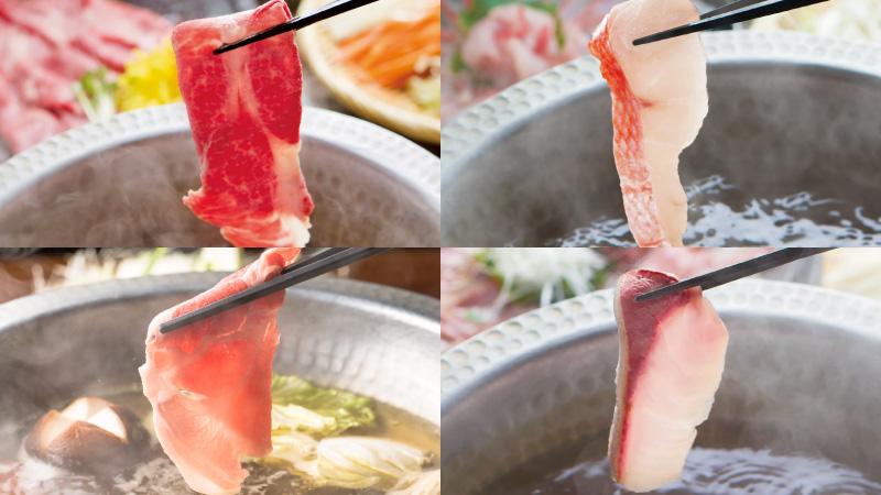 選べるメインは、霜降り馬ロース・麦豚・産直鮮魚