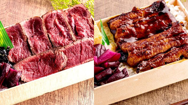 牛も鰻もリーズナブル♪『牛ハラミの焼肉弁当』700円(左)・『うな丼』750円(右) <ごはん大盛り無料>
