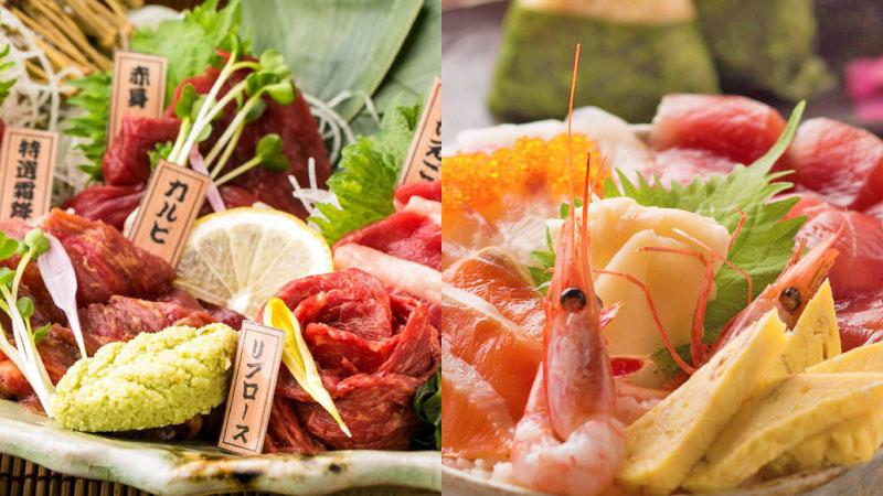 馬に魚に!『馬刺し3種盛り合わせ』1700円・『本日の鮮魚のはみ出る海鮮丼』1400円